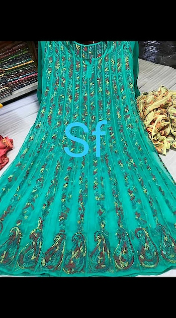 *S.F.💃💃 Present*  *Restock on huge demand*  ❤ *Resham heavy Embroidered anarkali*  📍 *Size-42* 📍 *Length-48+* 📍 *Free ship*  *Price revised*👆👆😍😍😍😍