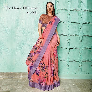 """The swish collection under """"The House of Linen"""" will make you experience the unique beauty of the classical trend, Do have a look at its classy designs.  Shop now >> http://bit.ly/2ThTZPD  #linen #HouseofLinen #saree #digitalprint #saree  #linensarees"""