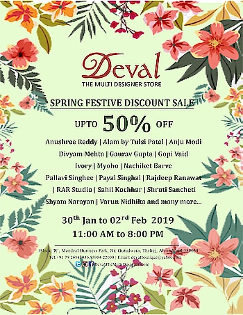 Save the dates: 30th January to 2nd February Deval The Multi Designer Store invites you for the Festive Discount SALE - upto 50% off by your favorite Top Indian designers ! Hurry! Visit soon!! For more details please call/whatsapp us +91 98984 22000 #devalstore #ahmedabad #discountsale #sale2019 #festivediscountsale #designerwearsale #designersale #devalthemultidesignerstore
