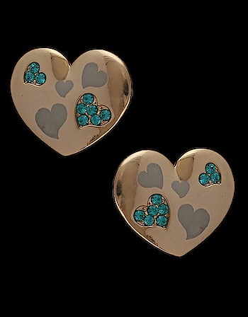 Beautifully designed, this pair of blue heart shape ear studs from Anuradha Art Jewellery are sure to make you look outstanding. To see more designs click on the link:  http://bit.ly/2FZJsps #earstuds #eartops #studearrings #studsonline #artificialjewellery #onlineshopping #anuradhaartjewellery