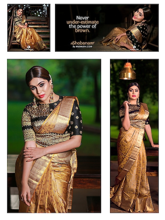 [5:22 PM, 2/2/2019] Sri: Never under-estimate the power of brown. Shop your favorite saree at www.pashudh.com  Brown Shot Mustard Silk saree with Brownish Beige Blouse Saree code: 202400  The brown shot mustard body of the saree stands out when the intricate  brownish beige squares and diamonds are spread upon it. A traditional brownish beige border is decorated with golden zari in floral patterns. The  brownish beige pallu is covered with rich golden zari to enhance the grandeur of the attire.  . . Credits With muse: @sonugowda  Photography: @ashwinthclicker  Jewellery: @pradejewels Blouses: @avani_designstudio  Make up: @makeoverwithlakshmi_shetty  Hairstyle and draping: @tejaswini1977  Location: @goldcoinsclub . . #pashudh #sareeblouse #weddingsarees #desiwear #sareelover #sareedraping #indianfashion #sixyardsofelegance #handloom #sareeaddict #designersaree #silkcotton #weavesofindia #ethnicwear #textilesofindia #sareepact #100sareepact #iwearsaree #textiledesign #zari #indianethnicwear #kanchipuram #bridesessentials #tiethethali #makefashiongood #iwearhandloom [5:23 PM, 2/2/2019] Sri: Never under-estimate the power of brown. Shop your favorite saree at www.pashudh.com  Brown Shot Mustard Silk saree with Brownish Beige Blouse Saree code: 202400  The brown shot mustard body of the saree stands out when the intricate  brownish beige squares and diamonds are spread upon it. A traditional brownish beige border is decorated with golden zari in floral patterns. The  brownish beige pallu is covered with rich golden zari to enhance the grandeur of the attire.  . . Credits With muse: @sonugowda  Photography: @ashwinthclicker  Jewellery: @pradejewels Blouses: @avani_designstudio  Make up: @makeoverwithlakshmi_shetty  Hairstyle and draping: @tejaswini1977  Location: @goldcoinsclub . . #pashudh #sareeblouse #weddingsarees #desiwear #sareelover #sareedraping #indianfashion #sixyardsofelegance #handloom #sareeaddict #designersaree #silkcotton #weavesofindia #ethnicwear #textilesofindia #sareepact #100sareepact #iwearsaree #textiledesign #zari #indianethnicwear #kanchipuram #bridesessentials #tiethethali #makefashiongood