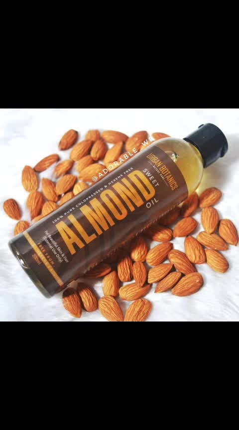 🙋‍♀️Today for our review we have - UrbanBotanics100% Pure Cold Pressed Sweet Almond Oil 😘 . . 🔎About the Product- This Almond oil isnourishing, hydrating and is extremely gentle on the skin, complementing a variety of uses for your aromatherapy, skincare and hair care routine. You can create your own do-it-yourself masks, scrubs and ointments with this versatile moisturizer and strengthen brittle nails and hair. . . . 🔎Price, Quantity and Availbility - Rs. 399 after discount for 200ml and available on Amazon. . . 🔎Features - 1. Made of 100% natural almond oil. 2. Promotes Hair growty. 3. Rejuvenates your skin. . . 👩‍🔬Benifits of Almond oil for Skin - 1. Flawless skin 2. Deep Cleanses Skin & Prevents Acne. 3. Reduces Dark Circles. 4. Treats Skin Rashes. 5. Reduces Signs of Ageing. . . 👩‍🔬Benifits of Almond oil for hair - 1. Promotes healthy scalp. 2. Treats split ends. 3. To enhance shine in hair. 4. Reduces hairfall. . . 😄Impression - 1. Its very affordable and easily available on amazon at a very good discount. 2. The bottle is very handy and easy to use. 3. This Almond oil is truely natural and has no added artificals ingredients in it. 4  I am using this Urban Botanics Almond oil in my Hair Mask, for lips and even for my skin. 5. You can definately give this one a try. ⭐⭐⭐⭐⭐ . . #adorablewe #urbanbotanics #almondoil #useofalmondoil #beautyhacks #amazonindia #beautyblogger #diy #flawlessskin #almondoilforhair #hairfall #hairgrowth #beautufulskin #hairrescue #beauty