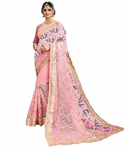 Being #Banarasi Women Light Pink Net & #Silk #Saree with #Blouse @ Rs.1499. Buy Now at http://bit.ly/2S4VF2u