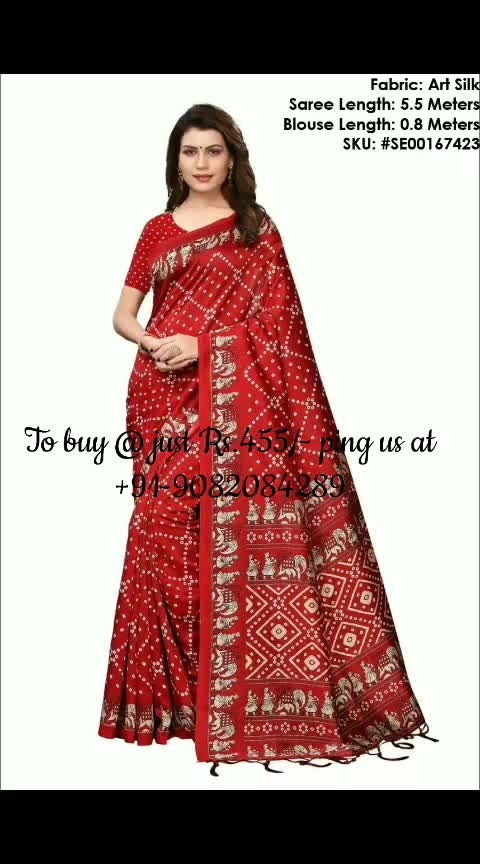 *Elegantly Printed Art Silk Saree*   Saree Fabric: Art Silk Blouse Fabric: Art Silk Saree Length: 5.5 Meters Blouse Length: 0.8 Meters Work: Printed  Singles Price: Rs.455/- Shipping: Rs.80/-  To Purchase ping us at 9082084289. Resellers Welcome.  https://www.facebook.com/media/set/?set=a.260949741228539&type=1&l=e56cbd95ef  Facebook Flipozo Group: https://www.facebook.com/groups/402358163596968  #Flipozo #FAZZN #ResellersWelcome #Artsilk #EthnicWear #Ethnic #saree-in-new #saree