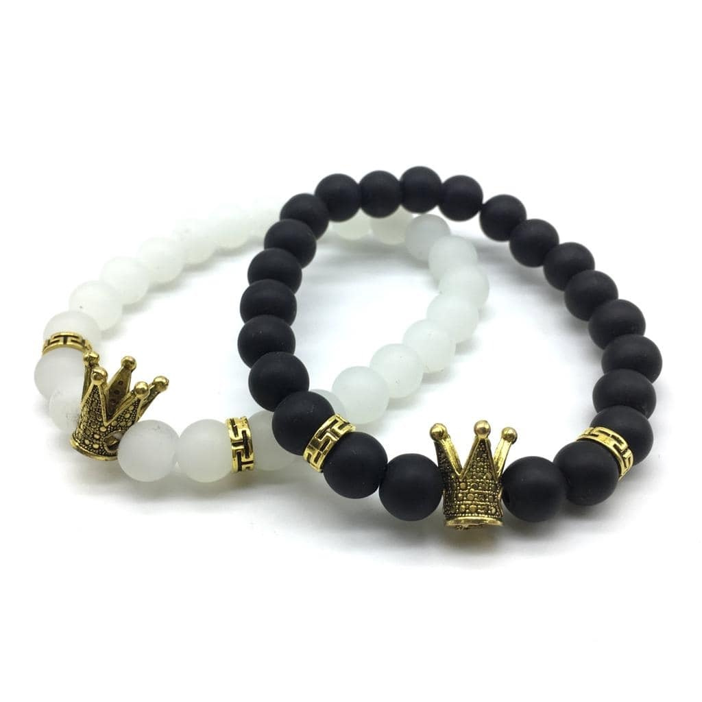 Valentine's Day For His And Her Bracelets Black & White Beads Gold Crown Stone Charm Lovers Couple Bangle Set Website Link-https://bit.ly/2UDQB1U . . . . #bracelets #bracelet #bangle #crown #blackbeads #indianjewelry #westernjewellery #menjewellery #jewellery #gold #love #mumbai #india #women #men #boy #girls #couplejewellery #jewelrydesign #partywear #westerndesigner #onlineshopping #jewelry #westernwear #accessories #fashionjewellery #jewelrylovers #fashionjewellery #womenjewellery #valentinegifts