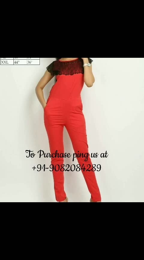 *Stylish Lycra Jumpsuit*  Fabric: Lycra Size: XS | S | M | L | XL | XXL  Singles Price: Rs.840/- Shipping: Rs.80/-   To Purchase ping us at +91-9082084289. Resellers Welcome.  https://www.facebook.com/media/set/?set=a.260949741228539&type=1&l=e56cbd95ef  Facebook Flipozo Group: https://www.facebook.com/groups/402358163596968  #FAZZN #flipozo #fashion #westernfashion #westernwear #jumpsuits #indianfashion