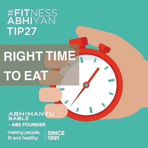 FITNESS ABHIYAN 2019.  TIP 27 RIGHT TIME TO EAT.  Many people ask me. What is the right time to eat before and after the workout?  You should always give a gap of 45 to 60 min between your meal and your workout.  You should never eat immediately before or after a workout.  A pre-workout meal is required to fuel your workout with energy.  Post- workout meal is required to repair and recover.  When you eat, your system has to work hard to digest that food and convert that into energy. If you eat immediately you are putting more pressure on your system to digest that food and also at the same time provide you with energy for your workouts.  You should choose food which is simple to digest. And which will avoid stomach uneasiness during your workouts?  Please understand, these are not your main meals. These are just before and after your workouts.  If your main meal is before your workout or after your workout, you need to give more than 60 minutes gap.  Pre-workout meal time: 60 mins before workout.  Pre-workout meal: Have a brown bread sandwich, oatmeal. Brown rice, fruit, yogurt, poultry. (Anyone or two if it's a pre-workout meal. Any three to four if it's your main meal) Post workout meal time: 45 - 60 mins after workout.  Post workout meal: Fruit. Egg. Poultry. Nuts. Yogurt. Dairy. (any two to three if this your post workout meal Any three to four if this is your main meal)  Keep it simple. Don't get carried away by the terminology of PRE and POST - Workout.  Just eat light before and after a workout. Just give 45-60 mins gap. PERIOD.  LET 2019 be your FITTEST YEAR ever.  Abhimanyu Sable  Training Since -1991  #fitnessabhiyan19 #ItsNotGymItsLife #newyearresolution #fit2019 #absolutelyalive #committomove