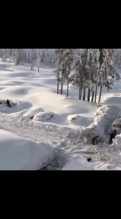 Searching for their parked cars in *Canada!*  #ropo-video #snowfall #winter #canada  #roposo_video  #roposo