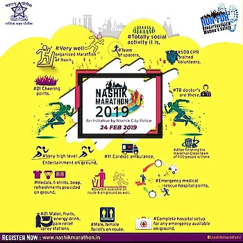 "Health is your greatest wealth, so experiencing a Marathon and seeing what you're capable of is really special....💪🏋️‍♂️🚵‍♂️🏃‍♂️  Are you geared up for the NashikMarathon??🏃‍♀️🏃‍♂️  Nashik Marathon - ""Run for Gender Equality & Women's Safety"".. An initiative by Nashik city police....👮‍♂️👮‍♀️ 24 FEB 2019  Supported by: - ABS Fitness and Wellness Club Nashik.  #nashik #nashikkar #nashikcity #nashikinstaconnect  #nashikmarathon2019 #running #nashikpolice #nashikcitypolice #nashikmarathon #runforgenderequality #runforwomensafety #genderequality #womensafety #marathon #run #fitness #runner #training #workout #fit #runners #marathontraining #runhappy #health #runningmotivation #fitnessmotivation #ironman #Gym #Athlete #Fitness #Exercise #WeightLifting #Cardio #Workout #Transformation #FatLoss #WeightLoss #Health #NashikMarathon #sunday #24thFeb #runforacause #fityou #fitsociety #awareness #contribution #womensafety #cause #health #humanity #absolutelyalive #absnashik #Nashikfame #AbsFitnessNWellness #abs #Nasik"
