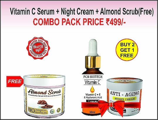 PCM Biotech Anti- Aging,Facial Serum Vitamin C + E (30ml), Almond Butter Scrub Combo  Reduces spots, firms skin, reduces the appearance of lines & wrinkles, smoothens and moisturizes skin, evens skin tone, reduces pores and makes your skin glow This is a Strong formulation with Real Almond Powder that mixed with Cocoa Butter to help purify and deep cleanse the skin that result in a perfect radiant skin. Vitamin C face serum stimulates - skin's own collagen production skin plumps and glows, both during the day and overnight  Buy Now :- https://amzn.to/2TFGcCU