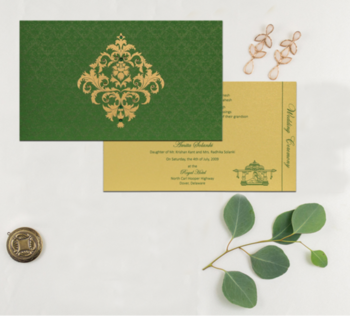 This green color traditional Hindu wedding invitation is designed from high-quality Tracing and Shimmer Paper. The Wedding Invitation looks beautiful with its dark green color palette combined with Two Inserts. For more enquiry contact us (9829127575) or email (info@123weddingcards.com).  Buy this product: https://www.123weddingcards.com/card-detail/W-8257F  #hinduweddinginvitations #shimmerpaper #weddingcards #weddinginvites #weddinginvitation #silkscreenprinting