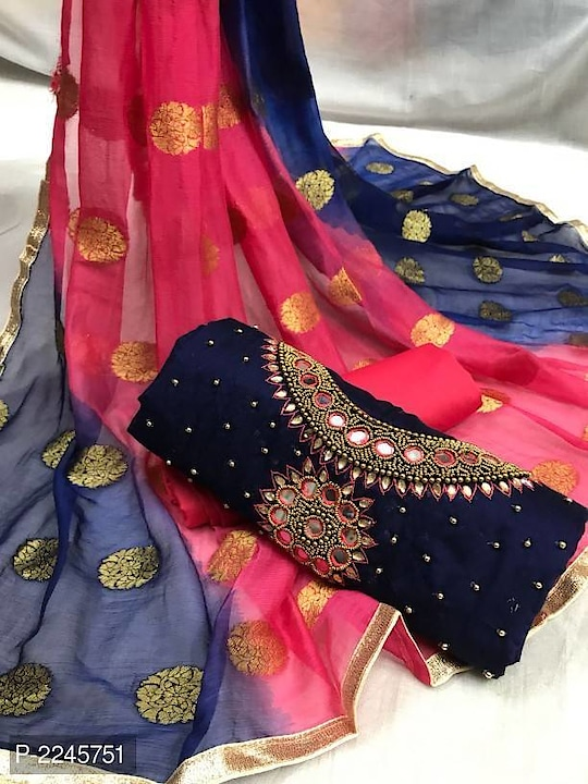 Chanderi Silk Dress Material With Dupatta  @ 1020.00/-  Color: Navy Blue Fabric: Chanderi Silk Type: Dress Material with Dupatta Style: Embellished Top Length: 2.2 (in metres) Bottom Length: 2.2 (in metres) Dupatta Length: 2.2 (in metres)  Product Description Top :chanderi silk material with linning Bottom :santoon Dupatta :butta work