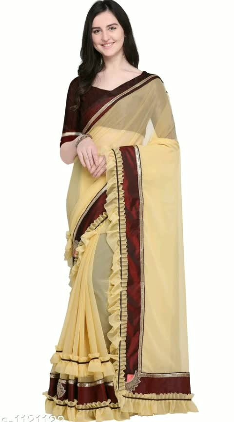 Myhra Traditional Georgette Ruffle Sarees Vol 2  Fabric: Saree - Georgette  , Blouse - Raw Silk Size: Saree Length -5.5 Mtr , Blouse Length - 0.8 Mtr Work:  Moti & patch Work Dispatch: 2 -3 Days