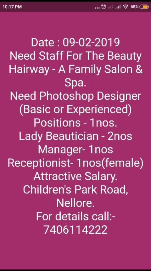 #job #jobs #interview #beauty #parlour