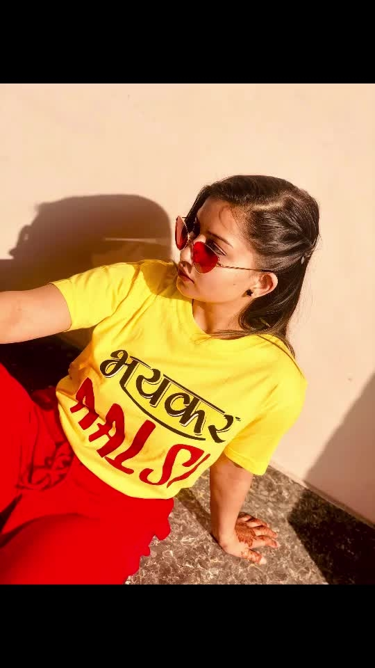 In love with this tee!!!  Saying it all.. Bhayankar Aalsi 🙈🙈  #roposostar #ootd #yellow #red