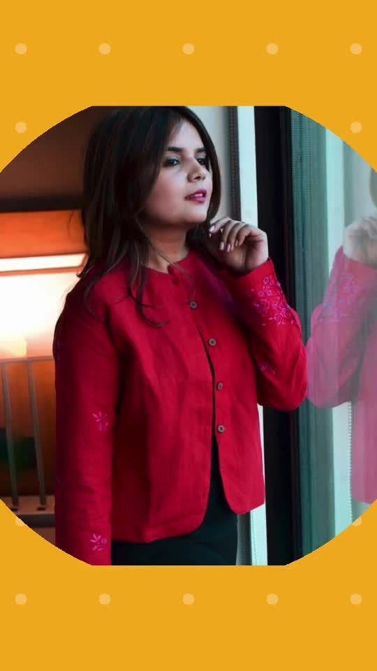 Cold but Cute ❄️ ♥️ This winters are really special because of hot coffee,bonfire & so much romance. I am loving my favourite red jacket from my favourite brand @minc_ecofashion store with such an amazing thread embroidery which gives you not even that elegant look but also makes your class apart. shop from : www.minc-ecofashion.com