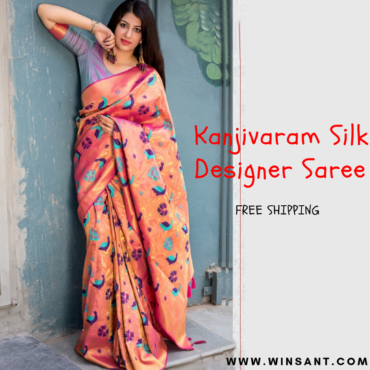 Kanjivaram Silk Self Design Saree   >>Shop Now - https://www.winsant.com/product/kanjivaram-silk-self-design-saree-by-fashion-zonez-orange76029?color=Orange&prod_color=8