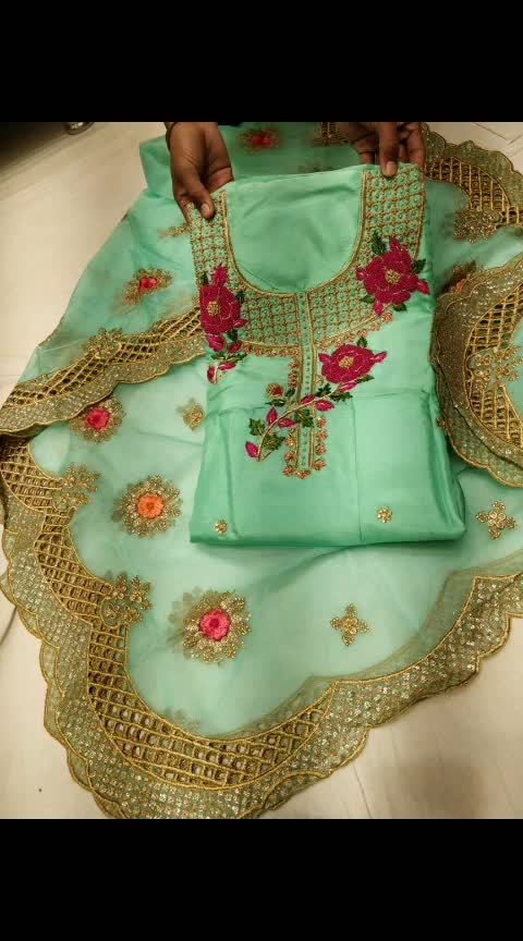 N R  present  Beautiful deginear suiit On tsby silk with hand work  duppata deginear organga