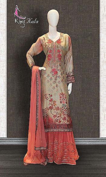 Grey Uppada Sharara Suit http://www.khojkaladesign.com/sharara/grey-uppada-sharara-suit-17604.html  SKU: KHOJ9135 ₹4,090  #Partywears #heavyembroideredsuits #wedding #marriage #ceremony #bridaldresses  #bollywoodfashion #salwarkameez #partysalwarkameez #khojkala