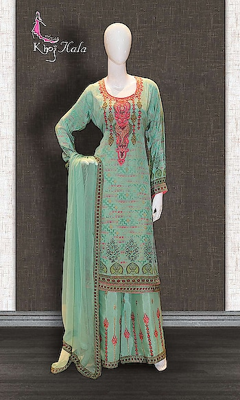 Green Crepe Sharara Suit http://www.khojkaladesign.com/sharara/green-crepe-sharara-suit-17562.html  SKU: KHOJ9039 ₹4,720  #Partywears #heavyembroideredsuits #wedding #marriage #ceremony #bridaldresses  #bollywoodfashion #salwarkameez #partysalwarkameez #khojkala