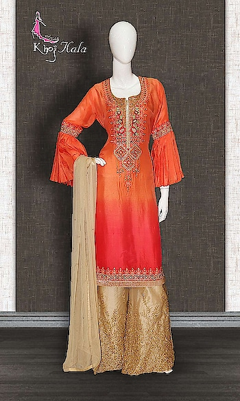Orange and Beige Uppada Sharara Suit http://www.khojkaladesign.com/sharara/orange-and-beige-uppada-sharara-suit.html  SKU: KHOJ2703 ₹6,610   #Partywears #heavyembroideredsuits #wedding #marriage #ceremony #bridaldresses  #bollywoodfashion #salwarkameez #partysalwarkameez #khojkala