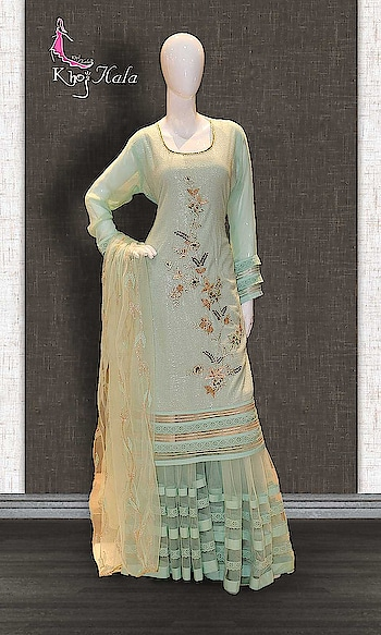 Green Georgette Sharara Suit http://www.khojkaladesign.com/sharara/green-georgette-sharara-suit.html  SKU: KHOJ2630 ₹5,349  #Partywears #heavyembroideredsuits #wedding #marriage #ceremony #bridaldresses  #bollywoodfashion #salwarkameez #partysalwarkameez #khojkala