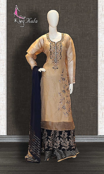 Blue and Beige Tissue Designer Salwar Kameez http://www.khojkaladesign.com/sharara/blue-and-beige-tissue-designer-salwar-kameez.html  SKU: KHOJ2610 ₹5,350   #Partywears #heavyembroideredsuits #wedding #marriage #ceremony #bridaldresses  #bollywoodfashion #salwarkameez #partysalwarkameez #khojkala