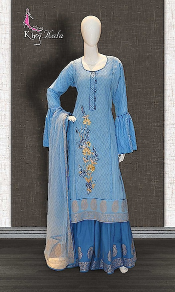 Blue Cotton Designer Sharara Suit http://www.khojkaladesign.com/sharara/blue-cotton-designer-sharara-suit.html  SKU: KHOJ2608 ₹4,253  #Partywears #heavyembroideredsuits #wedding #marriage #ceremony #bridaldresses  #bollywoodfashion #salwarkameez #partysalwarkameez #khojkala