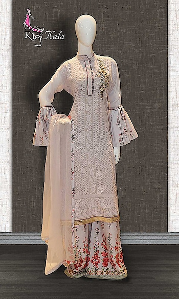 OffWhite Georgette Designer Sharara Suit http://www.khojkaladesign.com/sharara/offwhite-georgette-designer-sharara-suit.html  SKU: KHOJ2607 ₹5,035  #Partywears #heavyembroideredsuits #wedding #marriage #ceremony #bridaldresses  #bollywoodfashion #salwarkameez #partysalwarkameez #khojkala
