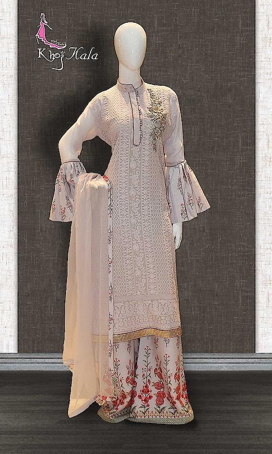 OffWhite Georgette Designer Sharara Suit http://www.khojkaladesign.com/sharara/offwhite-georgette-designer-sharara-suit.html  SKU: KHOJ2607 ₹5,035  #Partywears #heavyembroideredsuits #wedding #marriage #ceremony #bridaldresses  #bollywoodfashion #salwarkameez #partysalwarkameez #khojkala