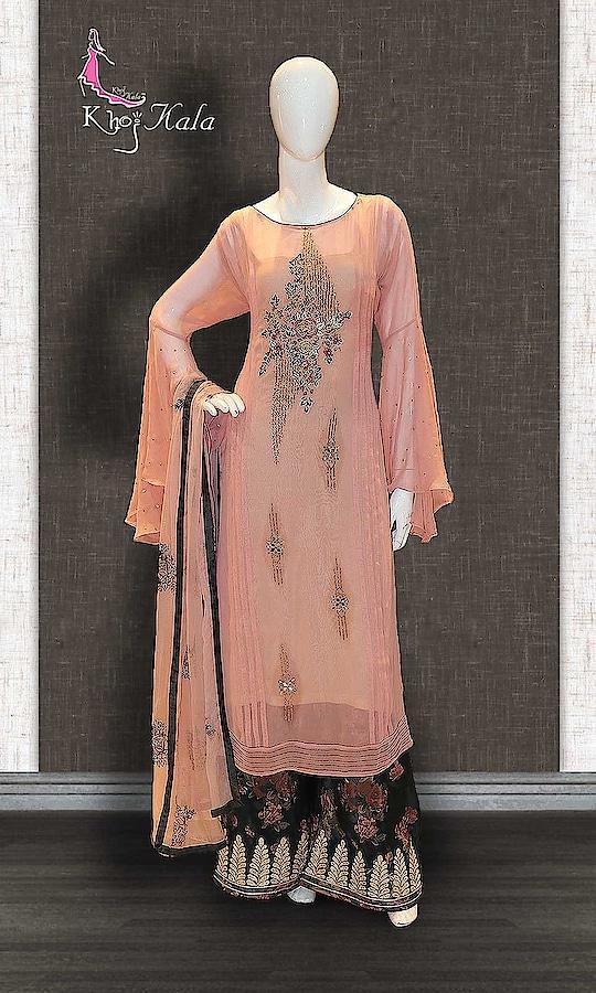 Pink Georgette Designer Sharara Suit http://www.khojkaladesign.com/sharara/pink-georgette-designer-sharara-suit.html  SKU: KHOJ0512 ₹4,720  #Partywears #heavyembroideredsuits #wedding #marriage #ceremony #bridaldresses  #bollywoodfashion #salwarkameez #partysalwarkameez #khojkala