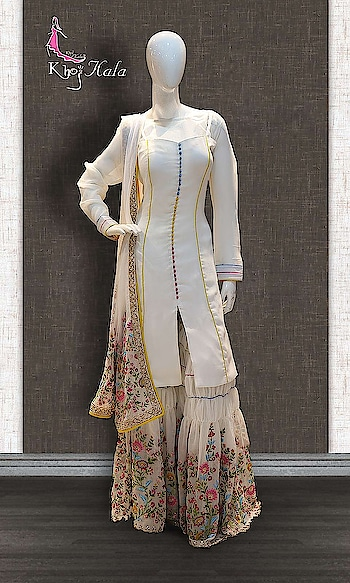 Cream Georgette Designer Sharara http://www.khojkaladesign.com/sharara/cream-georgette-designer-sharara.html  SKU: KHOJ2603 ₹12,539  #Partywears #heavyembroideredsuits #wedding #marriage #ceremony #bridaldresses  #bollywoodfashion #salwarkameez #partysalwarkameez #khojkala