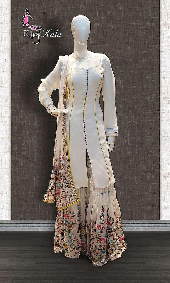 Cream Georgette Designer Sharara http://www.khojkaladesign.com/sharara/cream-georgette-designer-sharara.html  SKU: KHOJ2603 ₹12,539  #Partywears #heavyembroideredsuits #wedding #marriage #ceremony #bridaldresses  #bollywoodfashion #salwarkameez #partysalwarkameez #khojkala