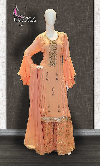Orange Georgette Sharara http://www.khojkaladesign.com/sharara/orange-georgette-sharara.html  SKU: KHOJ0536 ₹4,930  #Partywears #heavyembroideredsuits #wedding #marriage #ceremony #bridaldresses  #bollywoodfashion #salwarkameez #partysalwarkameez #khojkala