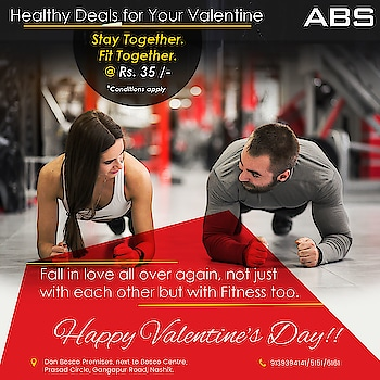 Healthy Deals for Your Valentine.💪👍 Stay Together. 👫Fit Together.💪💪 @ Rs. 35 /- (Conditions Apply)....  Fall in love all over again, not just with each other but with Fitness too.  Happy Valentine's Day!!!! 💑👍👫💪  With us enjoy Valentine's Day and grab your membership just in Rs 12627 + Tax (18%) Contact: 9139394141/5151/6161 Address: Don Bosco Premises, next to Bosco Centre, Prasad Circle, Gangapur Road, Nashik.  #valentine #love #gift #valentinegift #happyvalentines #fitspiration #valentinefitness #fitnessvalentines #loveyourself #fitnessmotivation #fitgoals #healthylifestyle #health #fitness #healthy #diet #healthyfood #fit #fitnessmodel #healthybody #gym💪 #gymming #bodybuilders #bodybuilding #bodybuilder #body #motivation #motivational #inspirationalquotes #inspiration #personaltraining #india #weightloss #valentineday #fitspiration #fitnessvalentines #loveyourself #fitnessmotivation #fitgoals #healthylifestyle #absolutelyalive #absnashik #Nashikfame #AbsFitnessNWellness #abs #Nasik