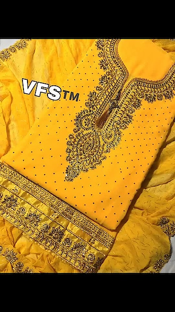 *VFS 163*             *Price:999/-*                   *Description:-*     Top:- Fox Georgette Full Soft           FABRIC BEST QUALITY            FULL LONG 44+ HEIGHT    FULL TOP MACHINERY DIAMOND  WORK                WORK TYPE:-  EMBROIDERY AND DIAMOND FULL HEAVY WORK         DUPATTA - HEAVY NAZNEEN    WITH FULL DUPPTTAA HEAVY MAGGI GOLD PRINT WITH HEAVY EMBROIDERY LACE                         TOP               *Cut 2.:10 MTR*              Inner & Bottom          *Santoon total 4 MTR*                   DUPPTTA          *NAZMIN 2.20 MTR*