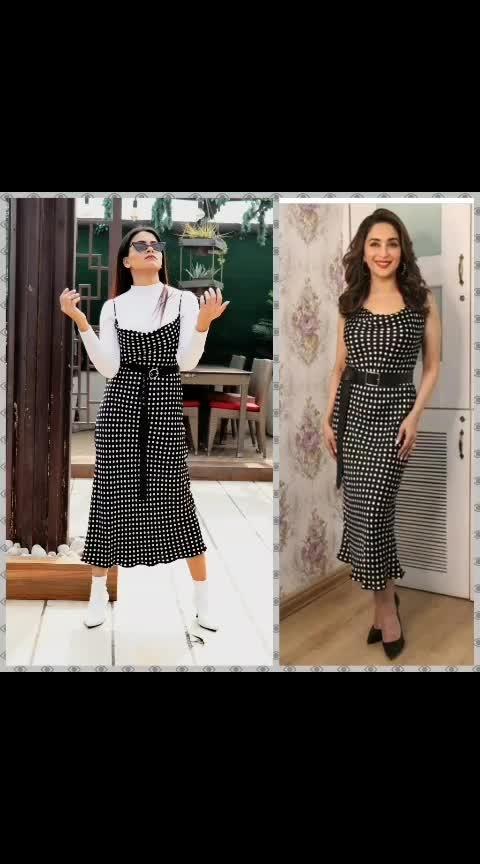 Are @shaleenanathani and I on the same page ?  Not really tho!  Just two reference as to how you can style one dress. . . .  #stylist #shaleenanathani #madhuridixit #styling #howtowear #howtostyle #blackandwhite #polkadotdress #zara #blogger #aashimalamba #lamba #thebasicrebel