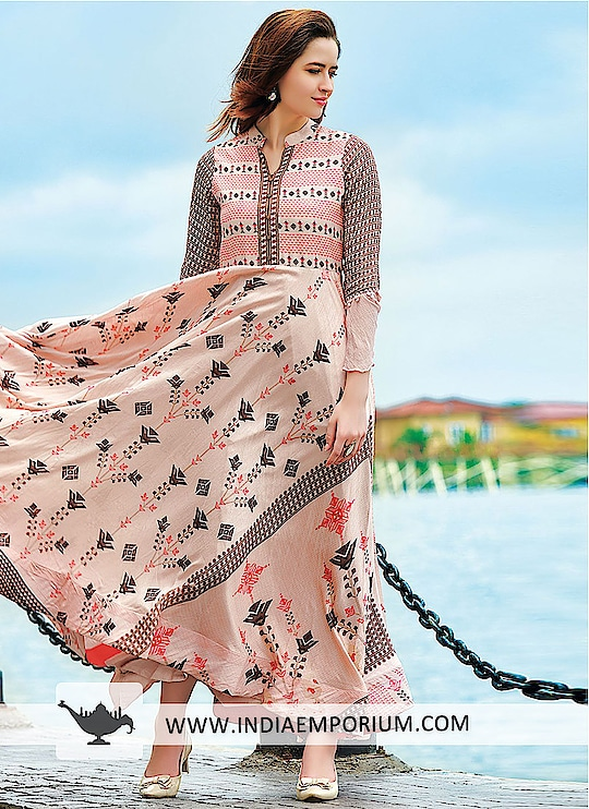 Lavish Peach Maslin Cotton Digital Print Gown  For more information:- https://indiaemporium.com/lavish-peach-maslin-cotton-digital-print-gown.html  #digialprintgown, #onlinegowns, #gownscollection, #latesttrandingprintgown