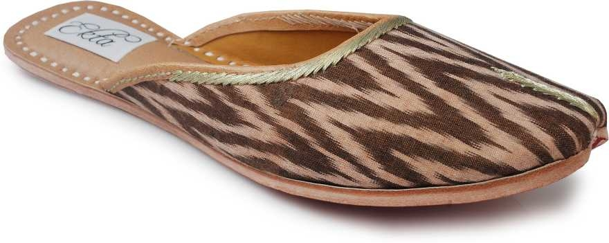 Ekta  Women Ethnic Wear Jutti and Mojari For Girls Jutis For Women  (Brown)  Featuring a pure cotton fabric upper that�s emblazoned with an ikat pattern, these handcrafted juttis with a cushioned inner sole celebrate desi elegance. 100% cotton fabric upper, genuine leather sole and insole This is a genuine handwoven piece, unevenness in the selvedge and weave could be expected. Colours may fade or bleed due to the traditional dyeing and printing process employed The yarn in ikat technique is tied and dyed in calculated proportions before weaving for a characteristic pattern The provided juti is designed by making use of finest quality leather and handloom material under the direction of our skilled professionals. these handmade juttis feature traditional embroidery on the body. This Ethnic Punjabi Jutti and Mojaris are Very Popular Because You Can Wear Theses Juttis And Mojaris In Every Dress Formal As Well Casual, western as well as traditional. This Is Totally Handmade With High Quality Leather. These juttis normally go with ethnic wear like, Patiala Suit, Kurta Pajama's and Punjabi dresses, apart from these juties can also be worn with denims. Most of the girls these days go with this footwear collection as it is not only completes the attire but makes them feel stylish as well.