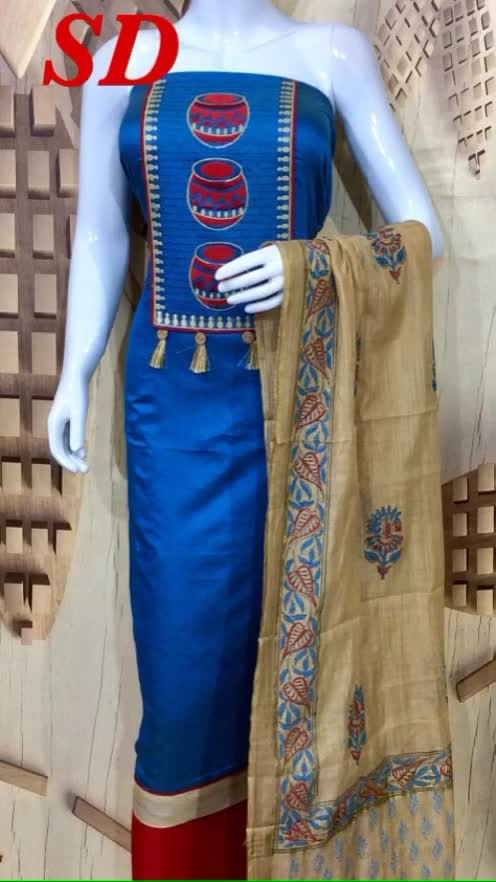 Rate:1150/- Fine chanderi silk designer embroidery top Fine cotton bottom Soft chanderi silk dupatta   *D.no- 1891*