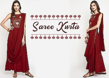 Saree kurta!  https://bit.ly/2BHsuIs  #9rasa #colors #studiorasa #ethnicwear #ethniclook #fusionfashion #online #fashion #like #comment #share #followus #like4like #likeforcomment #like4comment #newarrivals #ss19collection #ss19 #kurta #sareekurta #drapedsaree