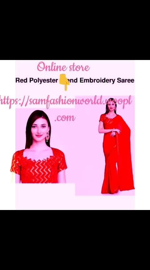 #wooplr #wooplrinfluencer     👉 *Name*: Red Polyester Blend Embroidery Saree 🔥 *Brand*: Aasvaa ✏️ *Description*: Explore the collection of beautifully designed sarees from Aasva. Each piece is elegantly crafted and will surely add to your wardrobe.  Saree: Red, 5.5mtr, Polyester Blend Blouse: Red, 0.80Mtr, Art Silk 😌 ✅ *Available Sizes*: One Size ☺️ 🚚 *Delivery Time*: Delivers within 5 days  *%s - 100%% Return & Refund Policy *No COD charges