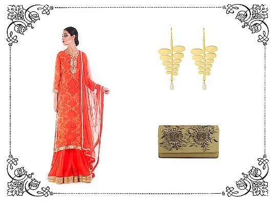 Try the latest sharara trend with matching accessories. The clutch bag will suit many outfits and look gorgeous too. Suit- https://vintagedesi.com/collections/new-arrivals-alpha-desc/products/tangerine-gold-embellished-sharara-set  Clutch- https://vintagedesi.com/collections/shop-bags-clutches/products/mustard-gold-clutch  Earrings- https://vintagedesi.com/collections/jewellery-alpha-desc/products/fish-hook-gold-plated-leaf-earring-with-pearl-drop . . . . . #sharara #partywear #kurti #salwarkameez #suits #anarkalisuit #dressmaterial #punjabisuit #fashion #garara #designerkurtis #gharara #indianwear #ethnicwear #style #onlineshopping #lehenga #selfiekurti #salwarsuits #boutiqueshopping #punjabi #saree #designersuit #trending #suit #anarkali #winterfashion #elegantdress