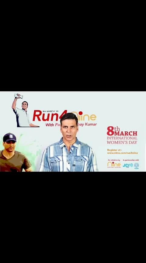 Run4nine with Akshay kumar  March 08, 2019  #roposowomenpower #internationalwomensday #roposovideo #roposoviews #roposotvbythepeople #roposo-tranding #ropososhare #roposomoments #roposoentertainment #roposostars #roposo-awesome #roposotalentshare #roposo-soleful #roposolove #roposo-men #roposovision