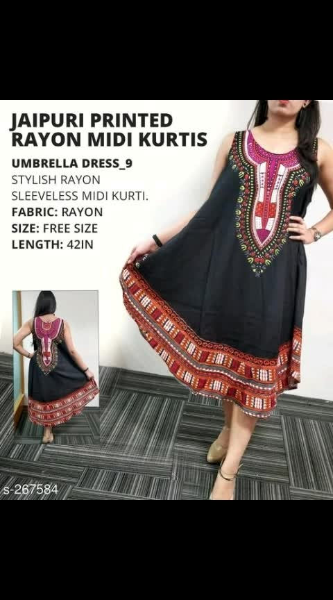 Jaipuri Printed Rayon Midi Kurtis  Fabric: Rayon