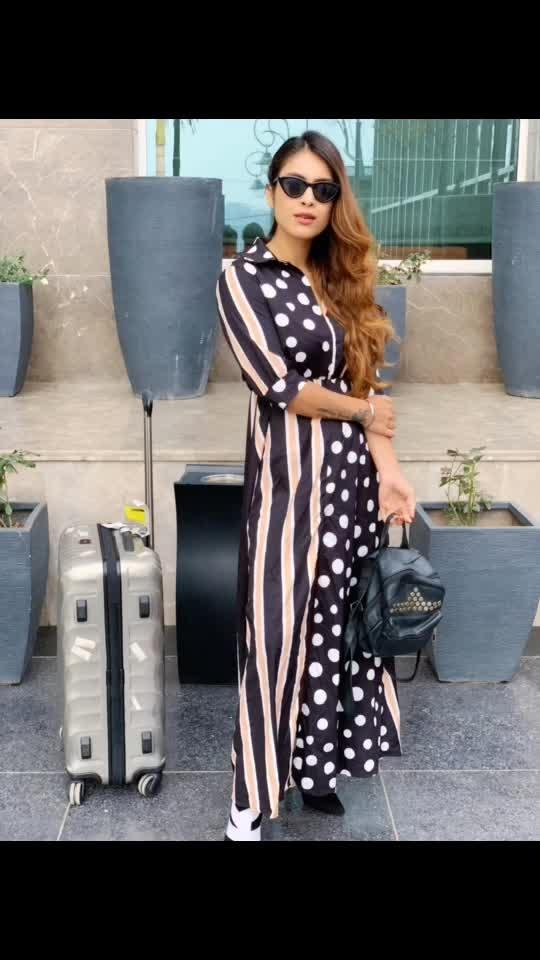 Travel with style 😍🤩 off to MUMBAI ✈️🍵 : Outfit by @paparazzicloset 👗 :  #travellook #lookbook #polkadots #polkadotsdress #casualstyle #paparazzicloset #chandigarh #seeyousoon #mumbai #happymorning #morningglory #ootd #casuallook #travelholic #travelgirl #airportstyle #airportfashion #travelblogger #travelphotography #nehamalik #model #actor #blogger #instatravel #instagram #instafashion #instalike #instafollow