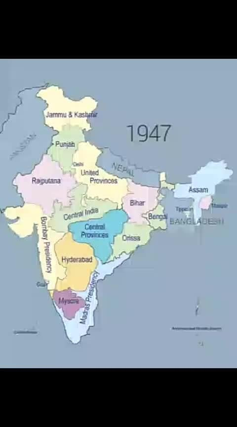 #changing #indianmap 1947 to till today
