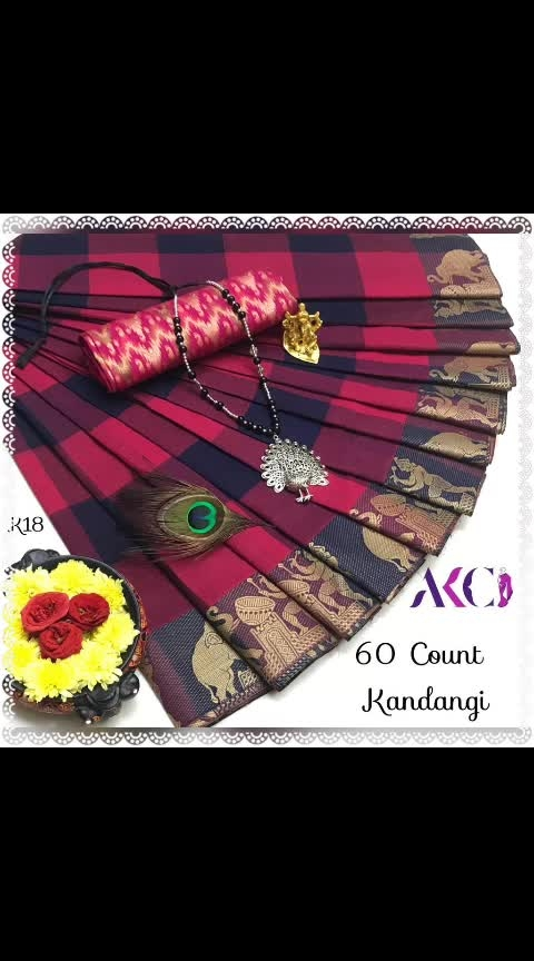 """🎊🎉🎊Go Trendy and unique with our *AKC's """"""""HIT IN MARKET""""""""😍  Kandangi Chettinadu in new style & concept* .🎊🎉🎊   🌻 *60 Count Kandangi Chettinadu Cotton Sarees weaved with  thread borders paired with matching cotton jacquard blouse*  🌻 *Saree without running Blouse 5.5mtr @899+$*  🌻 *Extra cotton jacquard blouse @150*  🌻Note : No neckset  🌻Multiples available😊   Hurry up dears 😍👍  💥 book urs soon...."""