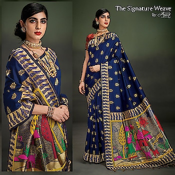 "Aura's graceful collection of intricately weaved ""Regal"" sarees will make all heads turn to you. Go shop now!  Buy now>> http://bit.ly/2U6g04x  #aurasaree #designersarees #thesignatureweave #designerblouses #blouses #traditional"