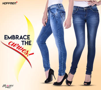 Stretchable ,Slim fit ,tapered legged #FashionDenim from #Hoffmen aptly exhibits your feminine grace. Take your pick at https://bit.ly/2DSQpGy. #Womensfashiondenim #Stylishwomen #jeans